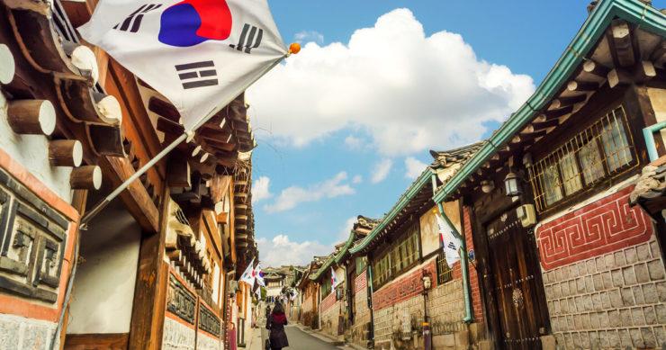 韓国ソウルの仏頂華王村にある伝統的な韓国風建築の外観
